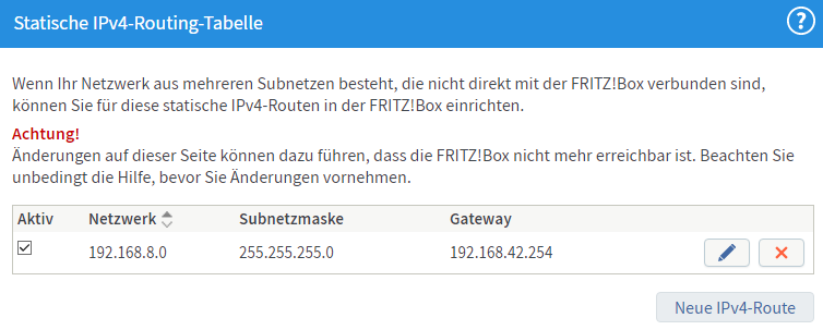 static route on FritzBox